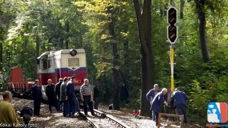 A felállított ismétlőjelző Csillebérc állomásnál