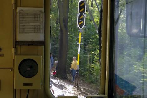A felállított ismétlőjelző Csillebérc állomásnál a mozd