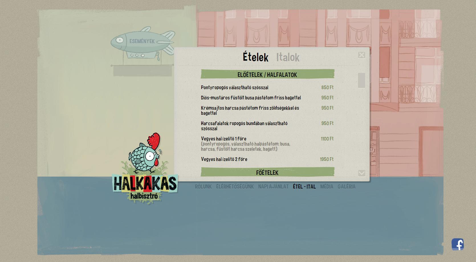 Halkakas étlap Széchenyihegy